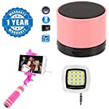 Drumstone S10 Fashionable Mini Wireless Portable Bluetooth Speaker With Smartphone LED Flash & Fill-light 16 LED Flashlight 3.5mm Pin Jack For Selfie Shutter & Mini Wire Controlled Rainbow Selfie Stick Compatible With Xiaomi, Lenovo, Apple, Samsun