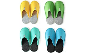 LuckySign Indoor Guest Slippers Unisex Felt Slipper Set of 4 Sizes - Bunt