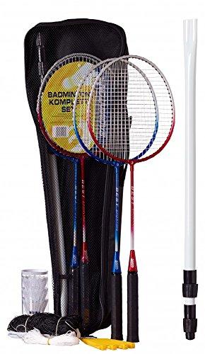 Best Sporting Badminton-Spiel Garnitur bestehend aus Netz, 4 Schläger, 3 Badmintonbällen, inklusive Tasche, blau-Silber und rot-Silber