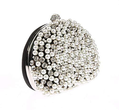 XiaoZou Damen Strass Perle Abendtaschen Braut Clutch Wallet Hochzeit Brautkleid Prom Abend Pack Cocktail Tote (Color : Black) -