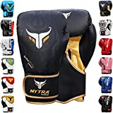 Mytra Fusion TRIBAL POWER Boxing Gloves Synthetic Leather SL3 Black Gold 16 OZ