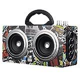 Hip Hop Inalámbrico Bluetooth Altavoz Portátil Bocina Bluetooth 8 Horas Tiempo de Juego Retro con SD MMC USB FM altoparlante Boombox Caja de Sonido Exterior Grande (Pintada)
