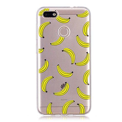 BONROY Hülle, Schutzhülle Case Silikon-Crystal Clear Ultra Dünn Durchsichtige Backcover Handyhülle TPU Case für Huawei P9 Lite Mini/Y6 Pro 2017 -Bananen