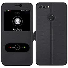 Huawei Y9 2018 Case, Anzhao [View Window] Flip Case Cover with Kickstand [Magnetic Closure] for Huawei Y9 2018 (Black)