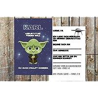 Einladungskarten Kindergeburtstag Jungen Star Wars - Motiv Yoda - personalisierbar - 10 Karten