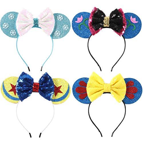 Minnie Kostüm Voll Maus - Bascolor 4stk öhrchen Haarreif Minnie Ohren Glitzer Süße Mouse Ohren Haarband mit Pailletten Bogen Kopfschmuck Haarschmuck für Kinder Mädchen Frauen Minnie Kostüm Party Karneval