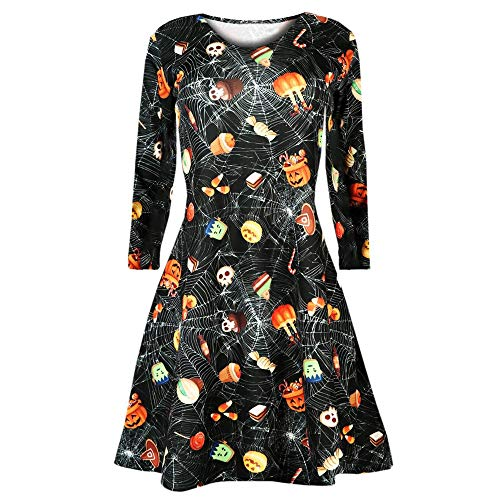 Halloween Kleider Damen Langarm Kürbisse Spinne Abendkleider Prom Kostüm Swing Kleid Dress SANFASHION