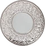 Kare Design Spiegel Cosmos FLower Ø110cm, großer Wandspiegel silber, XXL Schminkspiegel mit Silberrahmen in Blumenmuster, ausgefallener Flurspiegel, Silbergrau Aluminium vernickelt (H/B/T) 110x110x8cm
