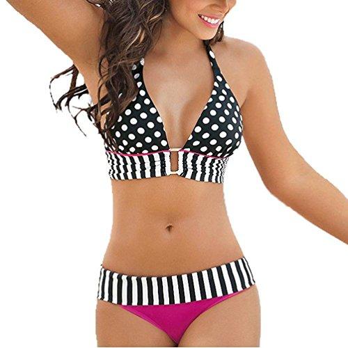 Bikini-Set GreatestPAK Bademode Damen Streifen Bandage Push-Up Badeanzug Bade Beachwear,L,Pink