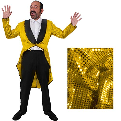 Goldener MÄNNER Frack/Tailcoat= Pailletten Jacke= DAS PERFEKTE KOSTÜM FÜR Jede TANZAUFFÜHRUNG - STEPTANZ -Fasching UND Karneval = DER SUPER KLASSE =Sequin= IN 6 VERSCHIEDENEN GRÖSSEN=Large