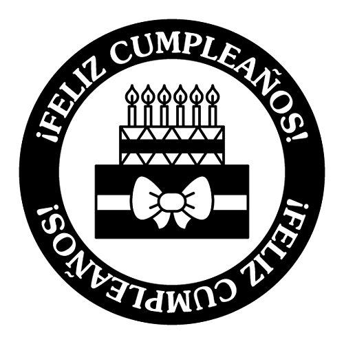 Artemio Tipo compleanno con testo ornamento Feliz Cumpleaños timbro di legno