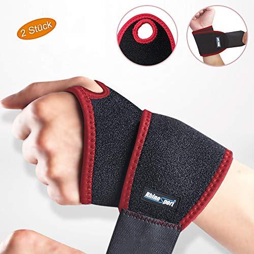 RHINOSPORT Handgelenk Bandagen Wrist Wraps Handgelenkbandage für Fitness, Bodybuilding, Kraftsport & Crossfit für Frauen und Männer Handgelenkschoner Handgelenkstütze (Rot, Linke & Rechte)