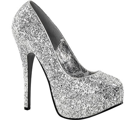 Bordello, Mary Jane Basse Donna Silver Glitter