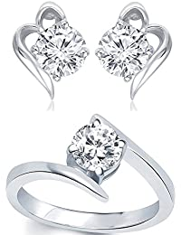 Meenaz Jewellery Combo Traditional Silver Plated Rings For Girls Girlfriend Women Necklace Ring Jewellery Set...