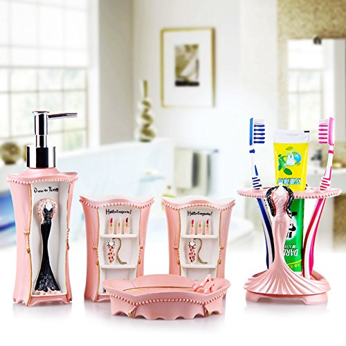5 Stück Lotion (Fünf-Stück Continental Chinesische Vintage-Waschung Wujiantao installiert Lotion Zahnbürste Becher-set-H)