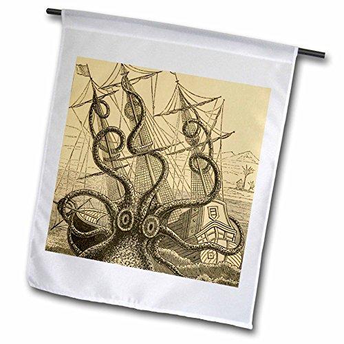 3dRose FL_164907_1 Gigantisches Colossal Octopus Sea Monster Kraken Pierre Denys De Montfort Gartenflagge, 30,5 x 45,7 cm (Sea Kunst Monster)