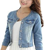 Women's Short Denim Jacket Round Neck Denim Three Quarter Sleeves Light Blue Ja
