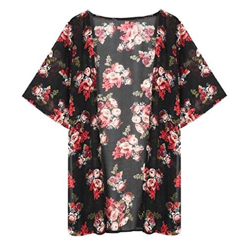 Cárdigan floral de manga larga - Sannysis Mujer Estampado, Gasa, Talla S M L XL (XL)