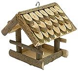 CORVUS kleine Vogelhaus zum Hängen Vogelfutterhaus mit Dachschindeln Holz aus Birke/Laubbaum Vogelhäuschen Futterhaus Handarbeit Zubringer