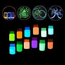 Pawaca 12 botella Brillan en la oscuridad No tóxico Impermeable Luminiscente Fosforescente Luz negra Pintar Neón UV Fluorescente Pintura acrilica para la decoración de la pared Creación de arte