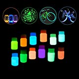 Pawaca 12 bottiglie Si illuminano al buio Non tossico Impermeabile Luminescente Fosforescente Luce nera Vernici Neon UV Fluorescente Colori acrilici per la Decorazione della parete Creazione artistica