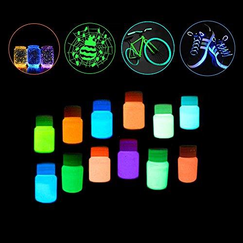 Pawaca 12 Flaschen Leuchten im Dunkeln Nicht giftig Wasserdicht Lumineszierend Phosphoreszierend Schwarzlicht Farben Neon UV Fluoreszierend Acryl Farbe Satz für Mauer Dekoration Kunst - Wand Farbe Leuchtende