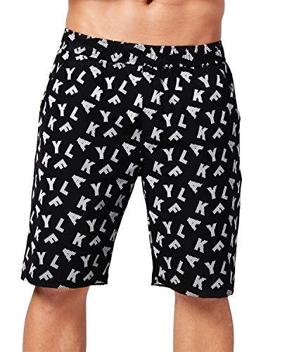 AKFLY Klassische Shorts Taschen für Herren Laufen Wandern und reflektierende schnell trocknende Strandshorts, Schwarz/Grau - Schwarz - Klein -