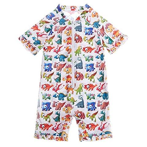 CharmLeaks Baby - One Piece Kinder Badeanzug Unisex Allover Blumen Print UV-Schutz 50+ Kleine Tiere 12-18 Monate