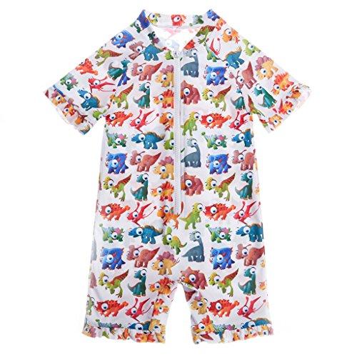 CharmLeaks Baby - One Piece Kinder Badeanzug Unisex Allover Blumen Print UV-Schutz 50+ Kleine Tiere 12-18 Monate Unisex Badeanzug