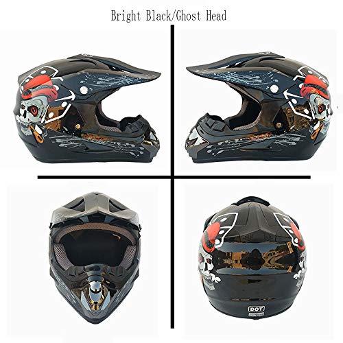 MMGIRLS Motorradhelm - Cross Country Helm Value Pack (Helm, Schutzbrille, Handschuhe, Maske, 4 Stück) - Leuchtend schwarzer Totenkopf-Aufdruck,XL -