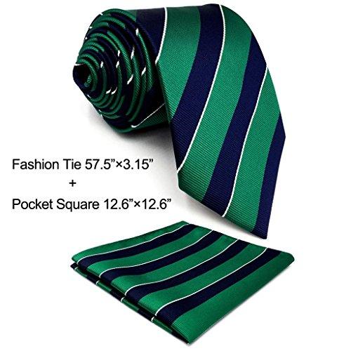 Shlax&Wing Streifen Herren Krawatte Blau Grün Seide Mehrfarbig Formal