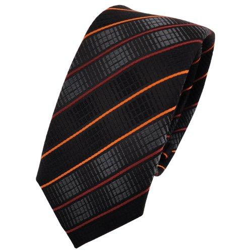 schmale TigerTie Designer Krawatte in orange schwarz anthrazit gestreift - Binder Tie