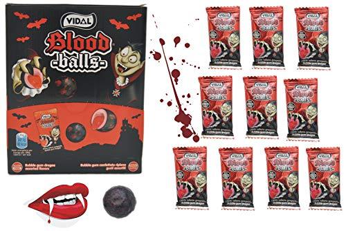 Schnäppchenladen24  Blood Balls KAUGUMMI 10er Pack Vampir Blut Bälle mit saurer flüssiger Füllung