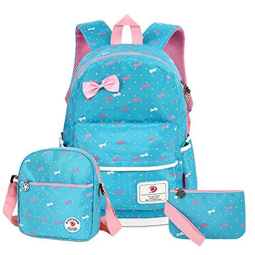 Imagen de vbiger  infantil para niña, con bolsa para almuerzo y bolsito para el móvil, azul claro