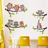 QTTZWZQ Stickers muraux Hiboux colorés sur l'arbre des Enfants Chambre Home Decor Stickers muraux Stickers muraux