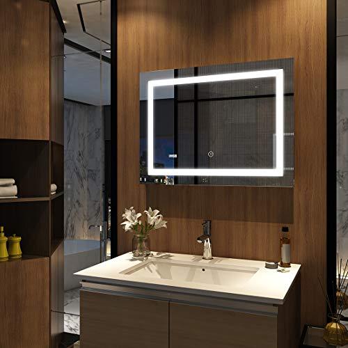 EMKE Badspiegel mit Beleuchtung 60 x 80 cm, Badezimmerspiegel Wandspiegel LED Badspiegel mit Touch-Schalter, Uhr und Beschlagfrei Kaltweiß Modell 5