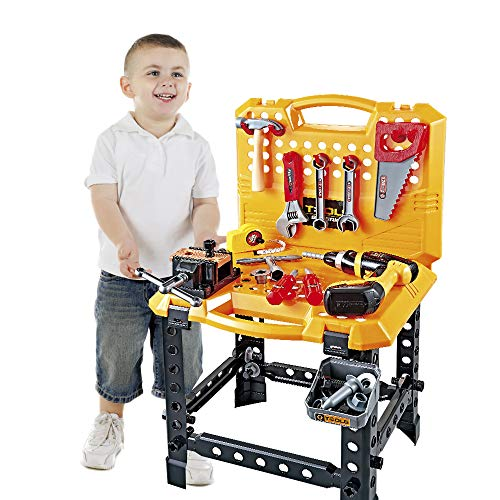 YOUNG CHOI'S Toy Tool, 100 Pieces Children Construction Toy Power Workbench for Toddlers Children Power Tool Bench Construction Set with Tools and Drill Boys Toy Shop Tools for Boys