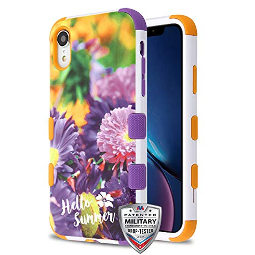 Case + Tempered_Glas + Stylus, TUFF Hybrid-Schutzhülle für Apple iPhone XR/iPhone 9 Chrysanthemum Field/Orange/Violett -