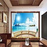 Yirenfeng Adesivi Murali Autoadesivi Per Carta Da Parati 3D Finestra Tridimensionale Al Di Fuori Paesaggio Marino Sfondo Muro Dipinto Video Rivestimento Murale-200X140CM