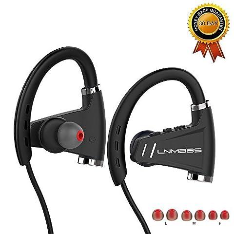U9 Bluetooth Kopfhörer Lnmbbs V4.1 Wireless Sport-Kopfhörer Noise Cancelling IPX5 Wasserdichte Ohrhörer für Gym Laufen, 12 Stunden Musik Zeit (Schwarz)