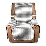 Auralum karierter Sesselschoner Schonbezug Sofaschoner Sofabezug Sofaüberwurf, ca. 177cm*56cm 1-Sitzer, Grau