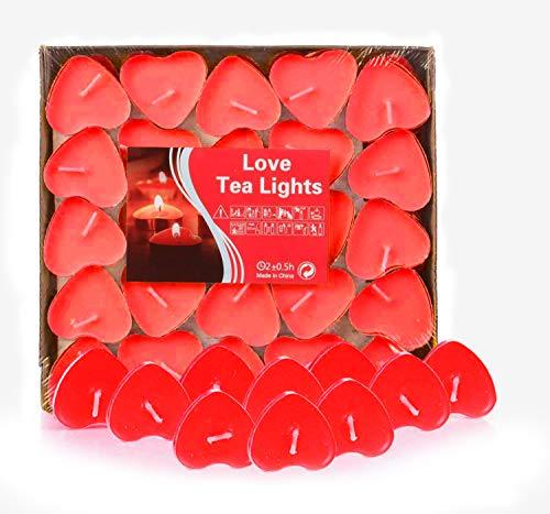 Adkwse 50er herzförmige Kerzen, rauchfreie Teelichter, für Geburtstag, Vorschlag,Hochzeit,Party, Rot, Hochzeit Verlobung, Valentinstag (Rot) (Kerzen Neue Geburtstag)