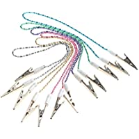ROSENICE Clips de baberos dentales clips de servilleta cadena 6pcs clips de cadena de pelotas dentales titular de servilleta flexible (color aleatorio)