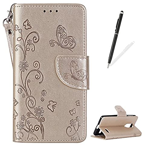 Leagoo M5 Brieftasche Hülle [mit Frei Griffel] KaseHom Schmetterling Gänseblümchen