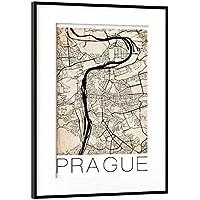 "artboxONE Poster mit Rahmen Schwarz (Metallic) 60x40 cm ""Retro City Map Prague"" von David Springmeyer - gerahmtes Poster"
