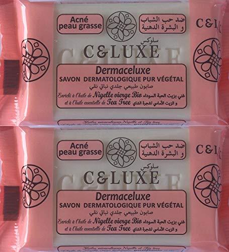 2 Savons Dermaceluxe, anti acné, à l'huile de nigelle BIO et tea tree 100% végétal: peaux grasses et acnéiques :lot de 2 savons de 100 gr.
