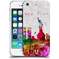 Head Case Designs Statua Della Liberta' New York USA Skyline Acquarellata Cover Morbida In Gel Per Apple iPhone 5 / 5s