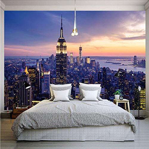 Yologg Fototapete Schöne New York City Nacht 3D Wandbild Wohnzimmer Thema Hotel Mode Dekor Tapete-200X140Cm