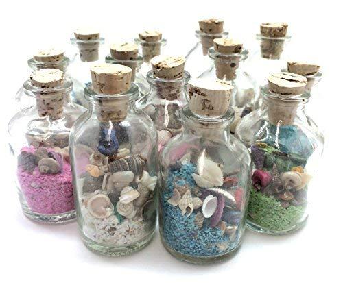 PepperLonely 12PC 2oz Sand und Muscheln Souvenir Glas Flaschen, 4Farbigen Sand Blau, Grün, Pink, Weiß - Sand-souvenir-flasche
