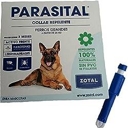 Collar anti-parásitos pulgas mosquitos para perros grandes más pinza anti-garrapatas de regalo especial contra el mosquito flebotomo y leishmaniasis repelente 100% natural 75 cm